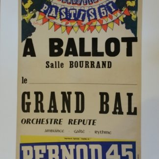 Affiche publicitaire PERNOD 45 vintage