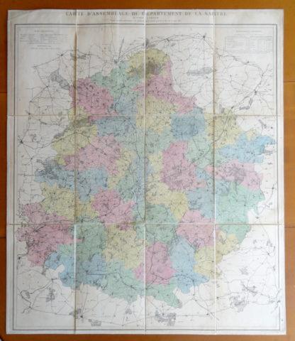 Carte pliante d'assemblage du département de La Sarthe