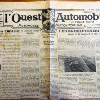 L'Ouest automobile et l'ouest sportif - 25é année. N° 607 Mai 1939
