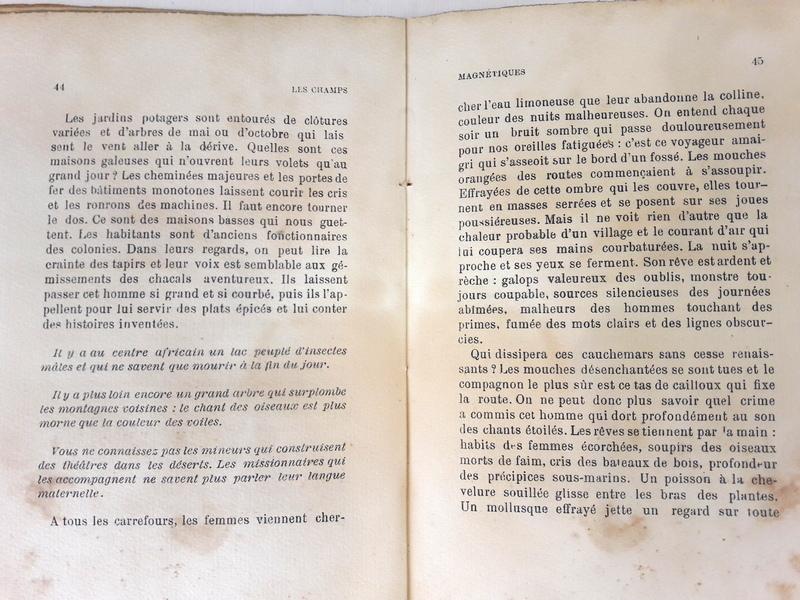 Première édition des Champs magnétiques, 1920, recueil de textes automatiques écrits par André Breton et Philippe Soupault en mai 1919.