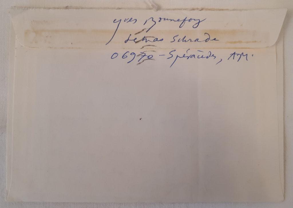 Yves Bonnefoy lettre manuscrite