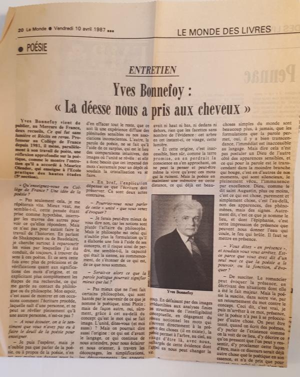 Yves Bonnefoy - Ce qui fut sans lumière,