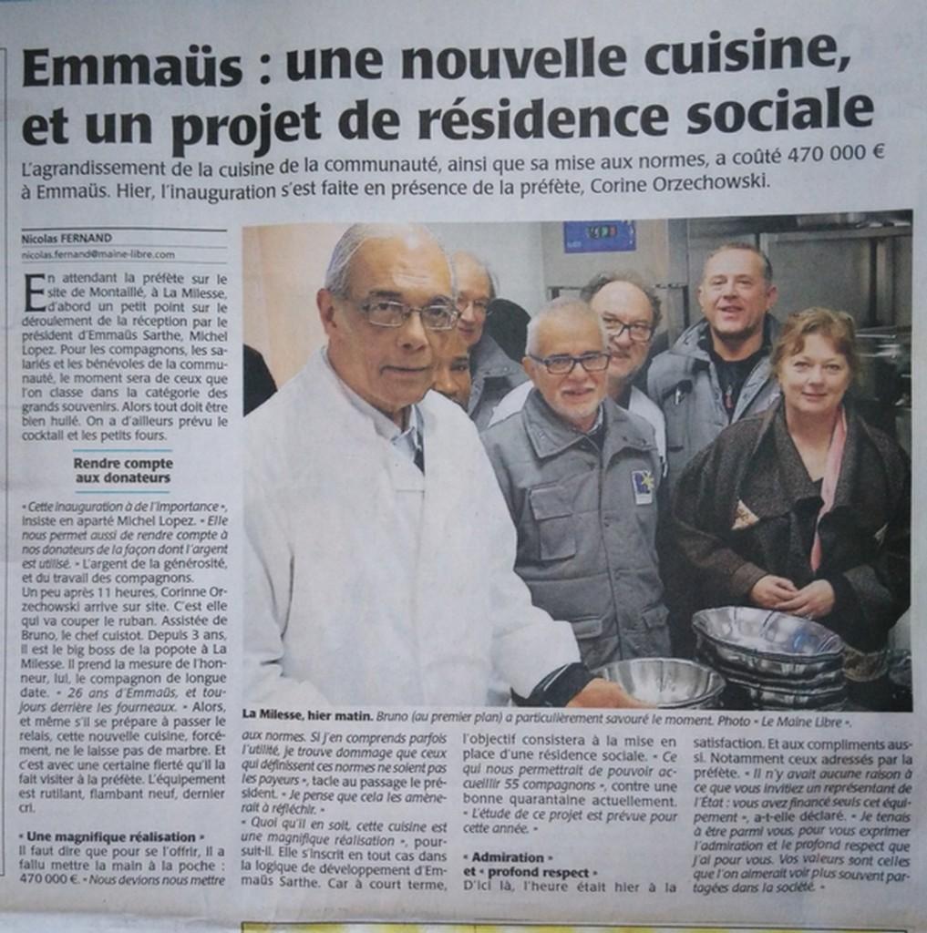 Inauguration de la nouvelle cuisine en présence de Corinne ORZECHOSWKI préfète de la Sarthe