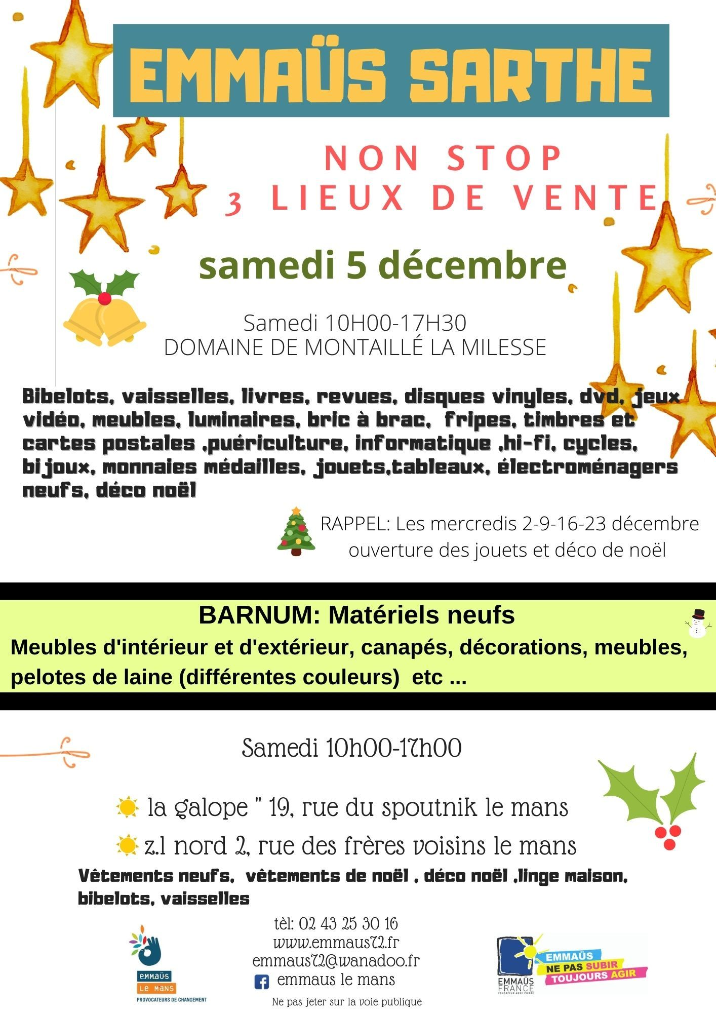 Emmaüs-Sarthe, vente de décembre