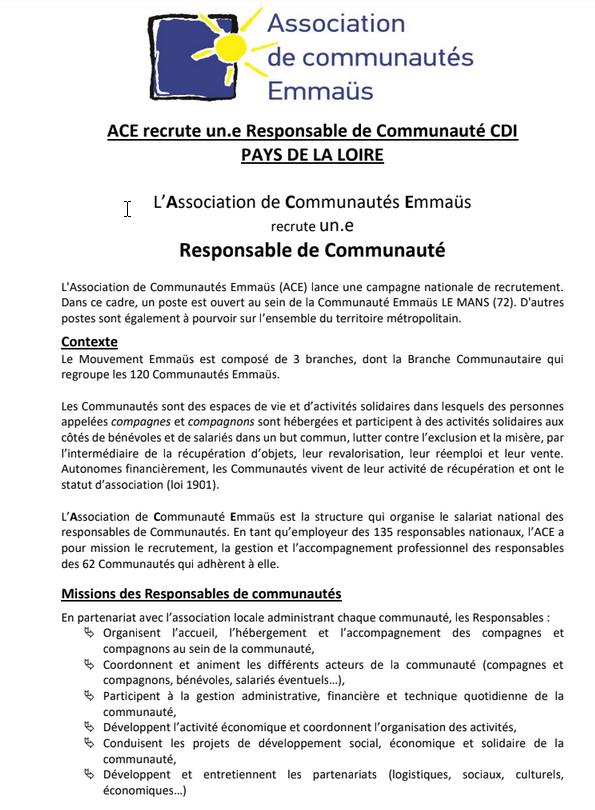 Recrutement 1 poste de responsable de communauté au Mans